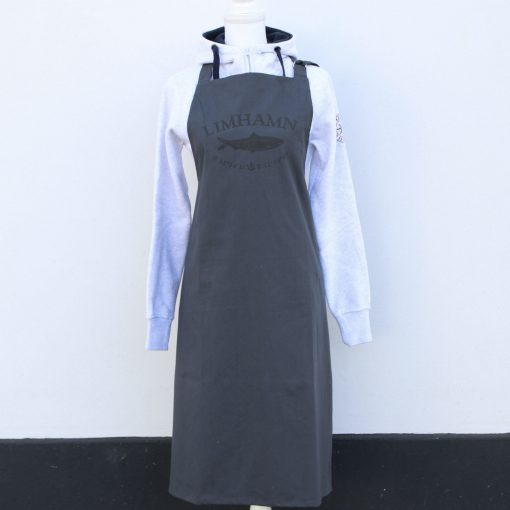 okkolit, Limhamn, grå/svart förkläde helfigur