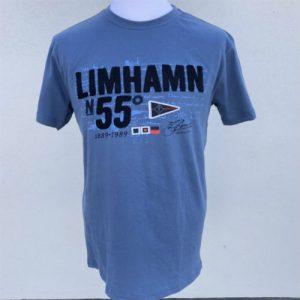 Blå t-shirt med Limhamns på bröstet från Kokkolit
